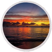 Round Beach Towel featuring the photograph Sunset 4 No Filter by Stuart Manning