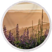 Sunset Among The Lupine Round Beach Towel