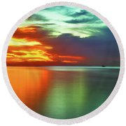 Sunset And Boat Round Beach Towel