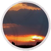 Round Beach Towel featuring the photograph Sunset And Cows 01 by Rob Graham