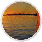 Sunset And Old Watermill Round Beach Towel