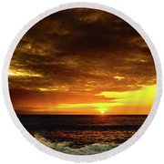 Sunset And Surf Round Beach Towel