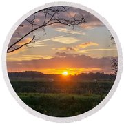 Round Beach Towel featuring the photograph Sunset by Anjo Ten Kate