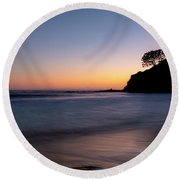Sunset At Abalone Cove Round Beach Towel