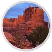 Round Beach Towel featuring the photograph Sunset At Arches by Sharon Seaward