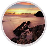 Sunset At Columbus Bay Round Beach Towel
