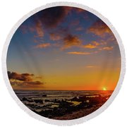 Sunset At Kailua Beach Round Beach Towel