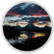 Sunset At Oxbow Bend Round Beach Towel
