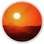 Sunset At Pointe Du Raz Round Beach Towel