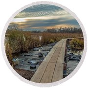 Sunset At Purgatory Creek Round Beach Towel