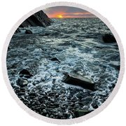 Sunset At Quarry Bay, Port Logan Round Beach Towel