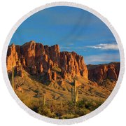 Sunset At Superstition Mountain Round Beach Towel
