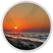 Sunset At Surf City Nc Round Beach Towel