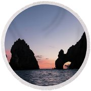 Sunset At The Arch Round Beach Towel
