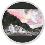 Sunset At The Falls Round Beach Towel