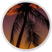 Sunset At The Palm Round Beach Towel