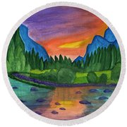 Mountain River In The Background Of The Forest And The Blue Mountains At Sunset Round Beach Towel