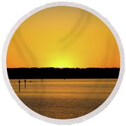 Sunset From National Harbor Round Beach Towel