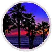 Sunset From The Ocean Park Inn Round Beach Towel