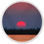 Sunset In Botswana Round Beach Towel