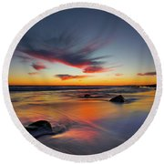 Sunset In Malibu Round Beach Towel
