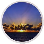 Round Beach Towel featuring the photograph Sunset In The Bahamas by Dawn Richards