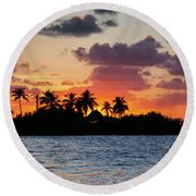 Sunset In The Florida Keys Round Beach Towel