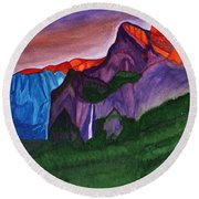 Snowy Peaks Of The Mountains With A Waterfall Lit Up By The Orange Dawn Round Beach Towel