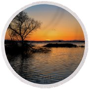 Sunset In The Refuge Round Beach Towel