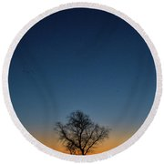 Sunset In The Refuge With Moon Round Beach Towel