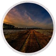 Sunset In The Twin Fields Round Beach Towel