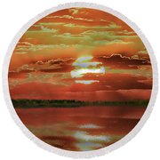 Round Beach Towel featuring the photograph Sunset Lake by Bill Swartwout Fine Art Photography