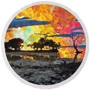 Sunset Landscapes Round Beach Towel