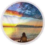 Sunset Meditation Round Beach Towel