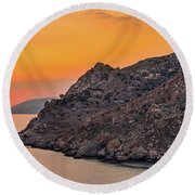 Sunset Near Cape Tainaron Round Beach Towel