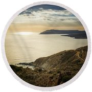 Sunset Near Tainaron Cape Round Beach Towel