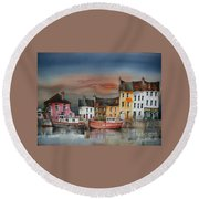 Round Beach Towel featuring the painting Sunset On  Cloondra, Co. Longford by Val Byrne