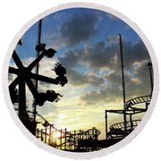 Sunset On Coney Island Round Beach Towel