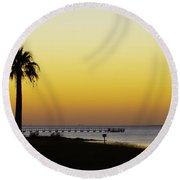 Sunset On Copano Bay, Texas Round Beach Towel