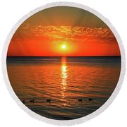 Round Beach Towel featuring the photograph Sunset On Green Bay by Dawn Richards