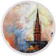 Sunset On Notre Dame Round Beach Towel