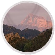 Round Beach Towel featuring the photograph Sunset On Pena Montanesa by Stephen Taylor