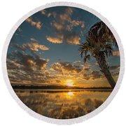 Sunset On The Pond Round Beach Towel