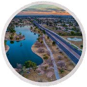 Sunset Over Chaparral  Round Beach Towel