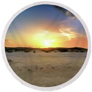 Sunset Over N Padre Island Beach Round Beach Towel