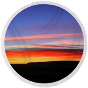 Sunset Over Navajo Lands Round Beach Towel
