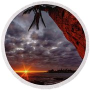Sunset Palm Round Beach Towel