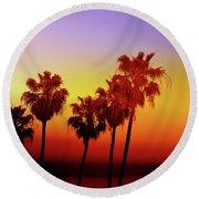Sunset Palm Trees- Art By Linda Woods Round Beach Towel