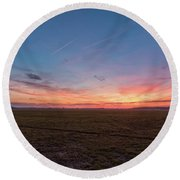 Sunset Pastures Round Beach Towel