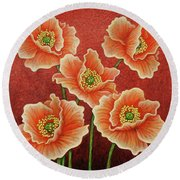 Round Beach Towel featuring the painting Sunset Quintet by Amy E Fraser